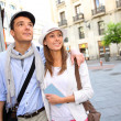 Romantic couple walking in the streets of Madrid, Spain — Stock Photo