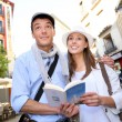 Stock Photo: Romantic couple walking in the streets of Madrid, Spain