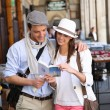 Trendy in love couple visiting Madrid — Stock Photo