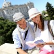 Stock Photo: Couple reading traveler book by the Royal Palace of Madrid