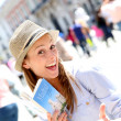 Happy girl visiting Madrid capital, Spain — Stock Photo