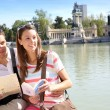 Couple in Retiro Park of Madrid looking at map — Stock Photo #27930887