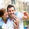 Couple with visitor pass in Barcelona — Stock Photo