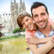 Couple standing by the Sagrada familia church, Spain — Stock Photo