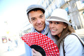 Cheerful couple enjoying week-end in Madrid — Stock Photo