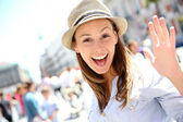 Portrait of cheerful beautiful girl in town — Stock Photo