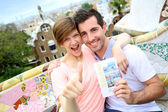 Couple of travelers visiting Guell Park — Stock Photo