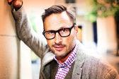 Gut aussehender Mann in Brillen — Stockfoto