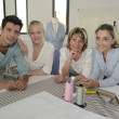 Stock Photo: Group of students with teacher