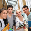 Students standing outside school building — Foto Stock