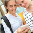 Girlfriends websurfing on smartphone — Stock Photo