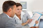 Woman presenting business plan — Stock Photo