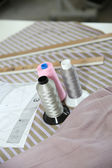 Dressmaking tools set on table — Stock Photo
