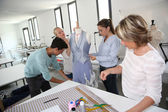 Students in dressmaking training school — Stock Photo