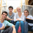 Students in school yard — Stock Photo