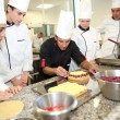 Students with teacher in pastry training course — Stock Photo