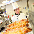 Bakery student preparing viennese pastries — Stock Photo
