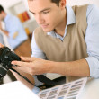 Stock Photo: Journalist working in office