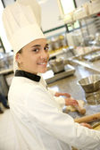Pastry cook student girl — Stock Photo