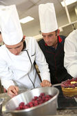 Students in pastry training course — Stock Photo