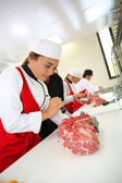Students in butchery training course — Stock Photo