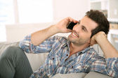 Man talking on mobile phone — Stock Photo