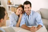 Couple in real-estate agency — Stock Photo