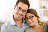 Couple with eyeglasses on — Stock Photo
