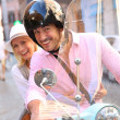 Couple in Rome riding scooter — Stock Photo #35300343