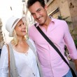 Stock Photo: Couple walking on streets of Rome
