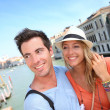Couple standing on the Academia Bridge — Stock Photo