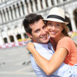 Romantic couple on Piazza San Marco — Stock Photo