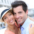 Couple standing in San Marco Place — Stock Photo