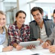 People meeting with digital tablet — Stock Photo