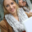 Beautiful blond student girl — Stock Photo