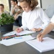 Kids at home drawing — Stock Photo