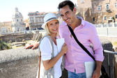 Tourists in front of Foro traiano — Stock Photo