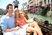 Couple in Venice having a Gondola ride — Stock Photo