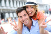 Couple chilling out on San Marco Place — Stock Photo