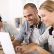 Friends websurfing on internet — Stock Photo
