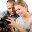 Students in photography working together — Stock Photo #35312873