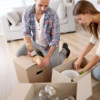 Young adults moving in new home — Stock Photo #35314687