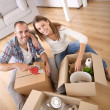 Young adults moving in new home — Stock Photo #35314699