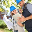Construction engineers working together — Stock Photo