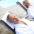 Couple in spa hotel relaxing — Stock Photo