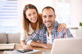 Couple calculating savings — Stock Photo