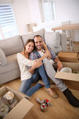 Young adults moving in new home — Stock Photo