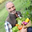 Man holding basket of fresh vegetables — Stock Photo