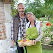 Husband and wife in garden — Stock Photo