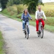 Senior couple riding bicycle — Stock Photo
